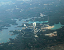 Aerial View Nuclear Power Plant. Aerial view of a nuclear power plant in Georgia, USA Stock Photo