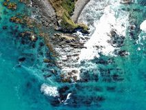Aerial view of nugget point shore. Kaka point beach stock photo