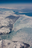 The aerial view at Nunavut province, Canada. The aerial view from the airplane on the way from Europe to Canada royalty free stock photo