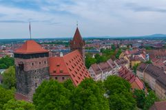 Aerial view of Nuremberg. Aerial panorama of the Old Town architecture in Nuremberg, Germany Royalty Free Stock Image