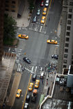Aerial view of NYC streets. Aerial view of taxi cabs on New York City street junction Stock Images