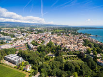 Aerial view of Nyon old city and waterfront, Switzerland Royalty Free Stock Photography