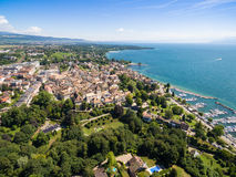 Aerial view of Nyon old city and waterfront in Switzerland Royalty Free Stock Photography