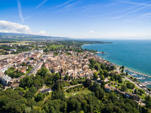 Aerial view of Nyon old city and waterfront in Switzerland Stock Photos