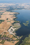 Aerial view of Nysa lake and green harvest fields Royalty Free Stock Images