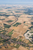 Aerial view of Nysa lake and green harvest fields Royalty Free Stock Photography