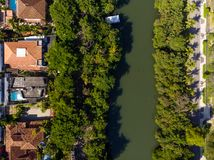 Aerial view o Marapendi canal in Barra da tijuca on a summer day. Green vegetation can be seen on both sides, as well as. Houses stock photo