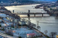 Aerial River View. Aerial view oaf the arkansas river at Little Rock Stock Photos