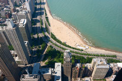 Aerial View of Oak Street Beach in Chicago Royalty Free Stock Photo