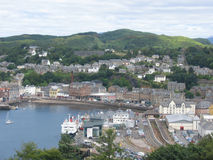 Aerial view of Oban, Scotland. Aerial view of the town of Oban in western Scotland Royalty Free Stock Images