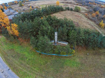 Aerial view of the obelisk in the village Trestina. Shooting with the bird`s eye view of Maksatikhinskiy district of Tver region Stock Image