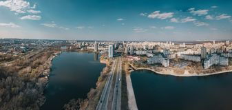 Aerial view of Obolon district, Kyiv, Ukraine. Two lakes with road between royalty free stock images