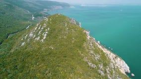 Aerial view ocean coastal landscape stock video footage