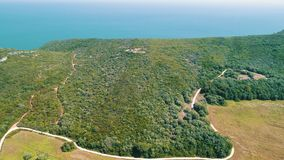 Aerial view ocean coastal landscape stock footage