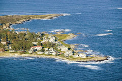 Aerial view of ocean-front homes on coast of Maine, near Walker-Point, summer home of President George H. W. Bush Stock Images