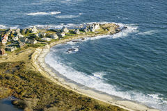 Aerial view of ocean-front homes on coast of Maine, near Walker-Point, summer home of President George H. W. Bush Royalty Free Stock Image