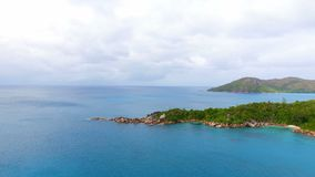 Aerial View Of Ocean And Islands 2. Drone Shot Of Anse Lazio,Praslin Island, Seychelles stock video footage