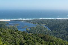 Aerial view of ocean and lagoon in Natures Valley, South Africa. Aerial landscape of ocean and lagoon in Natures Valley, South Africa stock image