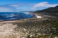 Aerial view on the ocean and mountain roads from Cape of Good Hope. South Africa stock photography