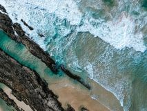 Aerial View of Ocean Wave stock images