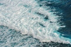 Aerial view of the ocean wave stock image