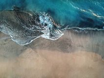 Aerial view of ocean waves and fantastic beach in the Canary Island royalty free stock images