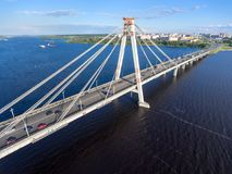 Aerial view of the Octyabrsky Suspension Bridge with traffic on road. Cherepovets, Vologda region, Russia Royalty Free Stock Images