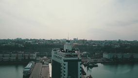 Aerial view of Odesa seaport stock footage