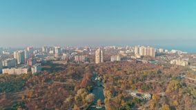 Aerial view of Odessa central park - Arboretum Peremohy stock footage