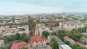 Aerial view of Odessa Lutheran St. Paul`s Cathedral, church of the German Evangelical Lutheran Church of Ukraine