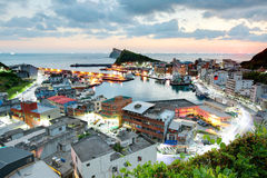 Free Aerial View Of A Fishing Village At Dawn On Northern Coast Of Taipei Taiwan Royalty Free Stock Photography - 60016717