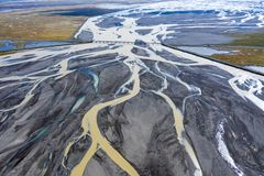 Free Aerial View Of A Riverbed And Water Streams In Iceland Stock Image - 150235591
