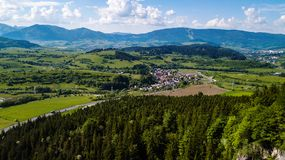 Free Aerial View Of A Small Village In Slovakia, In The Tatra Mountains Stock Images - 166298824