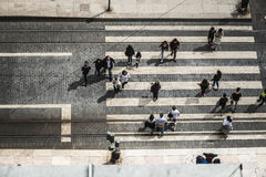 Aerial View Of A Street In Lisbon Royalty Free Stock Photos