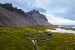 Free Aerial View Of A Viking Village In Stokksnes Under Vestrahorn Mountain, Iceland Stock Images - 200490334