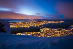 Free Aerial View Of A Winter Storm Approaching The City Tromso, Norway Stock Photos - 107729733