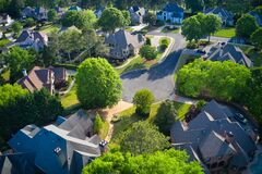 Free Aerial View Of An Upscale Sub Division In Suburbs Of USA Royalty Free Stock Photos - 217638988