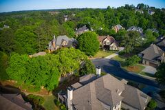 Free Aerial View Of An Upscale Sub Division In Suburbs Of USA Stock Image - 217639521