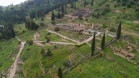 Free Aerial View Of Archaeological Site Of Ancient Delphi, Site Of Temple Of Apollo And The Oracle, Greece Royalty Free Stock Images - 114953169