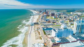 Free AERIAL VIEW OF ATLANTIC CITY BOARDWALK AND STEEL PIER. NEW JERSEY. USA. Royalty Free Stock Photos - 151739238