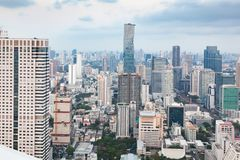 Free Aerial View Of Bangkok City Skyscrapers With King Power MahaNakhon Building Thailand Royalty Free Stock Image - 153265636