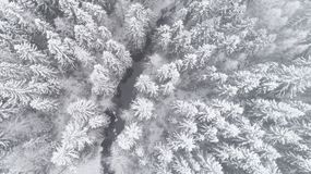 Free Aerial View Of Beautiful River Thorugh Snow Covered Forest In Calm Scene Stock Photo - 149648620