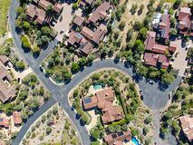 Free Aerial View Of Big Luxury Villa With Pool Located Next The Golf Course In A Private Community Royalty Free Stock Image - 179657886
