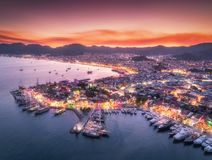 Free Aerial View Of Boats And Beautiful City At Night In Marmaris Stock Image - 108919511