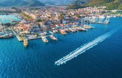 Free Aerial View Of Boats, Yahts, Floating Ship And Architecture Stock Images - 108676744