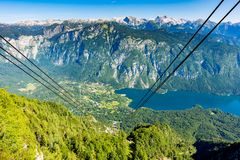 Free Aerial View Of Bohinj Lake From Vogel Cable Car Station. Mountains Of Slovenia In Triglav National Park. Julian Alps Landscape. Bl Royalty Free Stock Image - 124211006