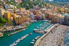 Free Aerial View Of Camogli. Colorful Buildings Near The Ligurian Sea Beach. View From Above On Boats And Yachts Moored In Marina With Stock Photography - 160488882