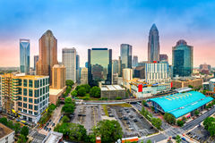 Aerial View Of Charlotte, NC Skyline Stock Image