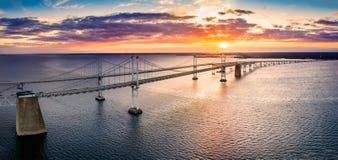 Free Aerial View Of Chesapeake Bay Bridge At Sunset. Stock Photos - 160412603