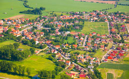 Aerial View Of Countryside With Village Royalty Free Stock Photography